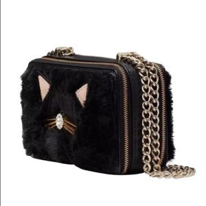 Kate Spade Black Fur Cat Crossbody authentic Bag